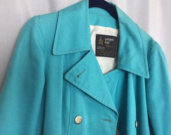 Blue Trench Coat Vintage London Fog Women's size 12 Regular