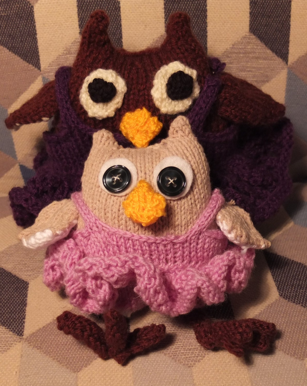 French Knitting Owl Doll : Ballet owls pdf knitting pattern from thecraftycox on etsy