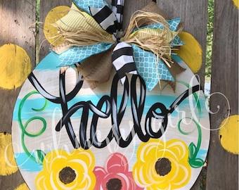 Hello Floral Door Hanger