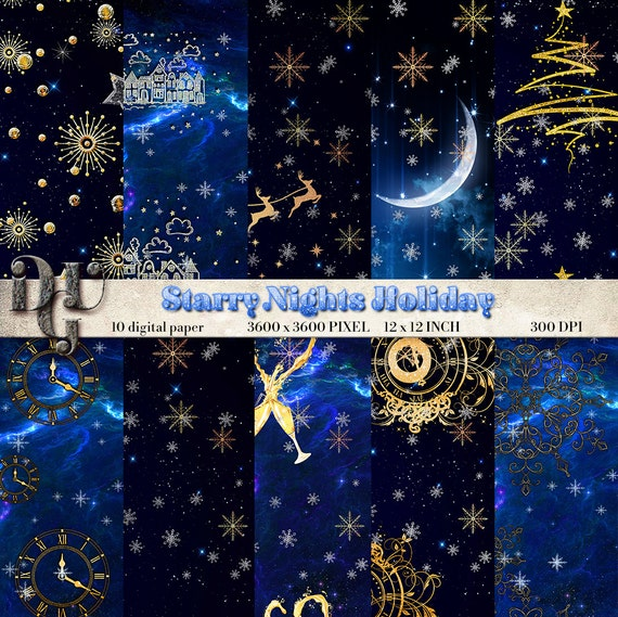 Starry nights holiday digital paper blue and gold for Blue and gold christmas