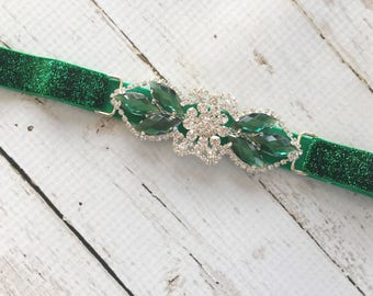 Christmas Party Headband - 20s Party Headband - Green Flapper Headband - Emerald Green Headband for Women - Formal Headpiece for Teens