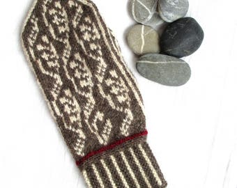 Lingonberry Mittens, make-your-own kit, brown/offwhite/red, wool and angora yarn, pattern included, Made in Sweden, mitten knitting kit