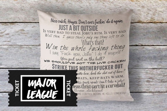 Quotes From Major League: Major League Movie Quote Pillow Cover 18x18inch By