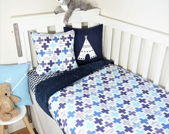 Navy, blue and aqua crosses nursery set items