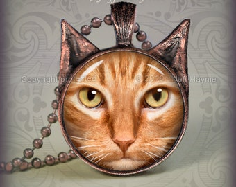 Orange Tabby Cat  pendant // Ginger Tabby necklace resin pendant // cat jewelry //  Cat Jewelry Picture Pendant // OTB5