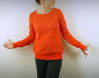 jumper orange bright organic cotton Jersey lace