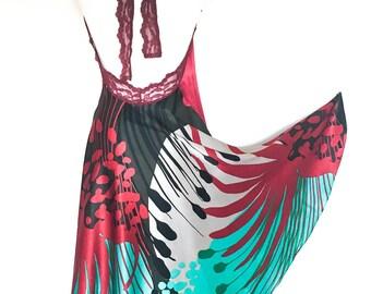 Red Fantasy Silk Open Back Tango Dress - Silk Dress - Summer Dress - Red Tango Dress - Milonga Dress - Red Halter Dress - Argentine Tango