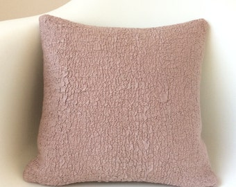 Dusty Pink Pillow Cover, Textured Pillow, Felted Silk Pillow, Rose Pink Cushion Cover, Decorative Wool Pillow, Pink Decor