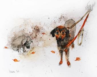 Original Watercolor painting Dogs. Watercolor mixed media painting. Dog watercolour illustration. Dog watercolor wall art.