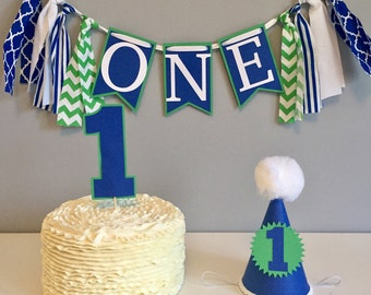 First birthday, boys first birthday, high chair banner, birthday hat, cake topper, cake smash, photography prop, birthday banner, boys b
