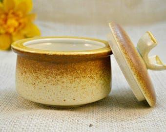 Mikasa Stylekraft Sugar Bowl and Lid //  1970s Brown Stoneware / Vintage Mikasa sugar bowl