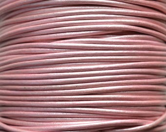 Mystic Pink / Metallic / 1mm Leather Cord / leather by the yard / round leather cord / genuine leather / necklace cord / bracelet cord