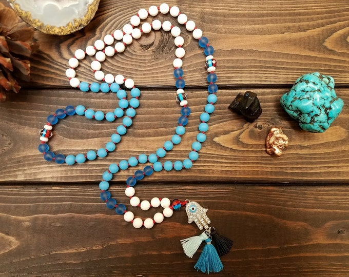 I AM SAFE 108 bead yoga inspired tassel red string evil eye hamsa mala necklace