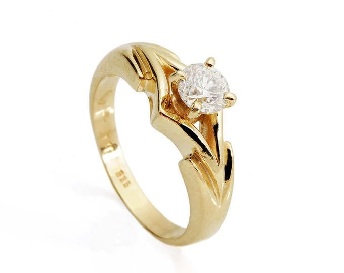 1 carat Diamond Engagement Ring-Solitaire ring-Gold ring -Art deco engagement ring-Promise ring-Bridal ring-Anniversary-Gold Statement Ring