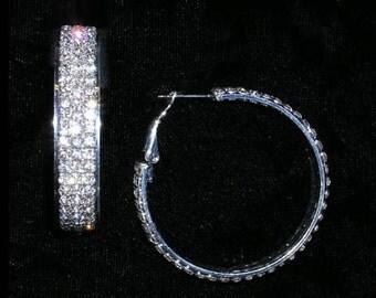 "Style # 15019 - Fine Three Row Hoop in Frame Earring - 1.75"""
