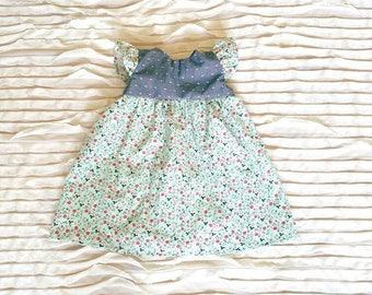 SALE! Mint and pink vintage floral dress, vintage baby dress, toddler dress, floral baby dress, floral toddler dress, Vianne dress