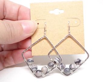 Sterling silver with Silkstone freeform earrings