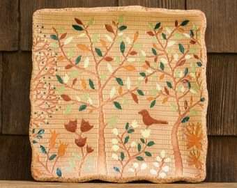 Ceramic Red Bird Forest Square Plate / Food & Dishwasher Safe / Housewarming or Wedding Gift / Woodland Tree of Life Rust Bird / IN STOCK