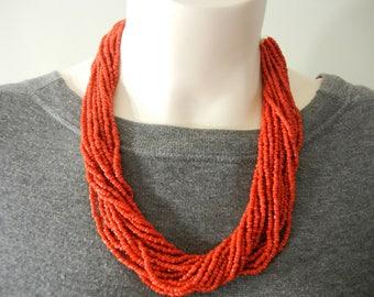 Vintage carnelian glass bead torsade, carnelian torsade, carnelian multistrand necklace, carnelian seed bead necklace, carnelian seed beads