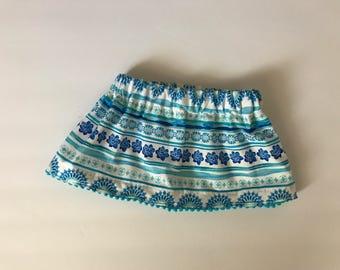Blue and White Flower Skirt with pom pom hem, custom made to order