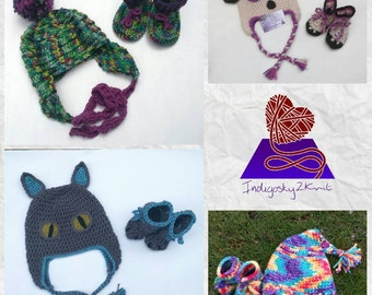 Knitted baby set, hat and booties **Made to Order** baby shower gift, toddler gift set, rainbow hat and boots, many styles