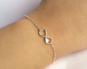 Sterling Silver Infinity Bracelet, Infinity Heart Bracelet, Friends Bracelet, Sisters Bracelet, Bridesmaids Bracelet