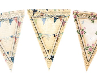 Bunting download shabby chic flags x 3 jpg just 99p digital papers scrapbooking papercrafts to print A4
