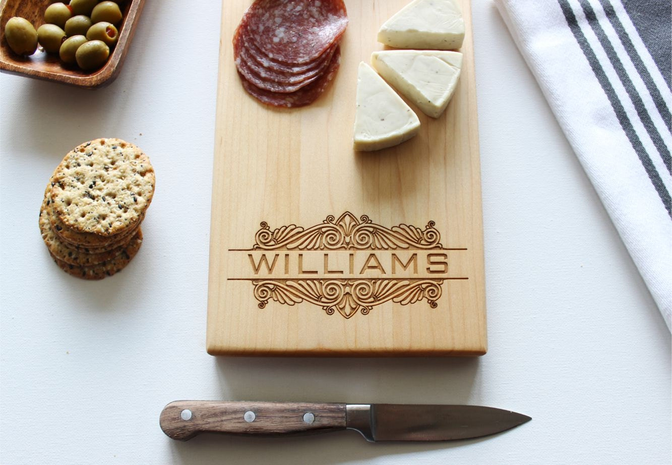 Personalized Gift For: Cheese Board Personalized Cutting Board Custom Name Wedding