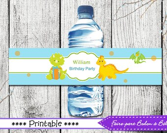 Water Bottle Labels Dinosaur Birthday -  Printable Labels Dinosaurs Theme - party décor - party decoration - Dinosaur party - Party supplies