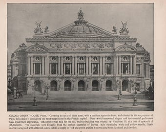 Grand Opera House, Paris France, 2 Prints of Photographs of 1892, Photographs of Famous Scenes, by Charles H. Adams