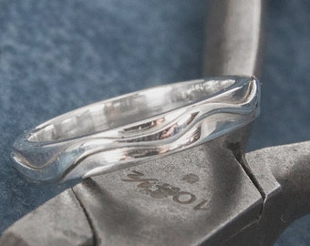 sterling silver ring with wave design
