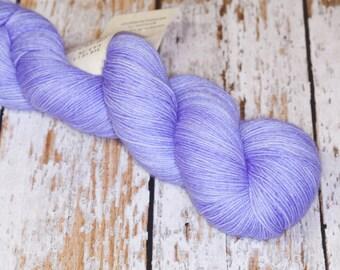 Hand Dyed Sock Yarn, Superwash Merino Wool Nylon in Soft Iris, Periwinkle