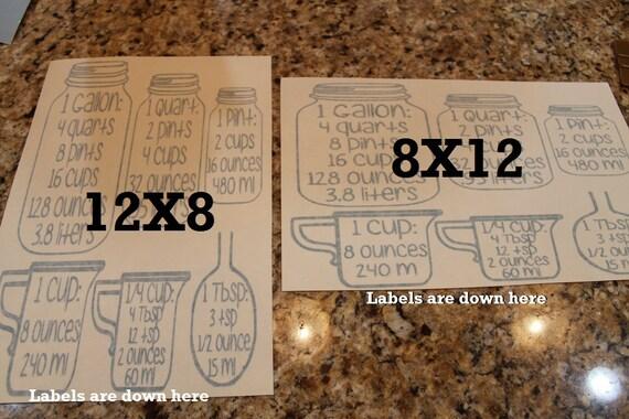 Measurment, jar measurements, mason, kitchen conversion chart, Conversion Jars, Cabinet decals, Jar decal, kitchen measurement, measurements