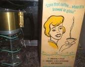 Sale! Fab 1950s COFFEE PERCOLATOR w/ BOX By HandCraft ~MidCentury Glass Cafe Pot w/ Celeste Pattern ~Retro Stanley Hostess Gift ~Mad Men Mod