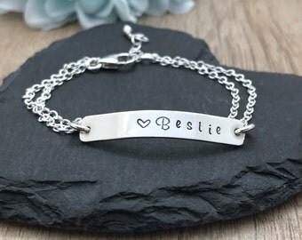 Personalised Bracelet, Silver Bar Bracelet, Sterling Silver, Hand Stamped Bracelet