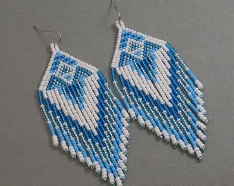 Long Indian style beads earrings ,  tribal style , boho style , Native American Beaded Earrings ,   peyote earrings