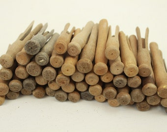 Vintage Clothespins, Lot of 52, Used, Wood, Worn, Aged, Wooden, Set of 52, for Laundry or Crafts