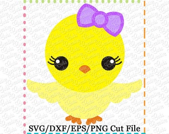 Baby Girl Chick Easter SVG Cutting File, girl chick svg, easter cut file, easter svg, girl chick cut file,
