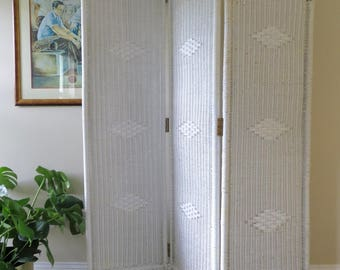 Vintage White Wicker Room Divider - Three Panel Folding Screen Divider - Cottage Chic Boho Decor