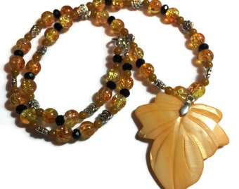 Fall necklace, leaf necklace, orange necklace, orange leaf necklace, fall leaf necklace, leaf jewelry, fall jewelry,  Autumn necklace