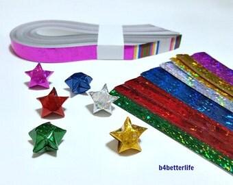 200 Strips Assorted Colors Medium Size DIY Origami Lucky Stars Paper Folding Kit. 24.5cm x 1.2cm. (4D Glittering Paper Series). #SPK-192.