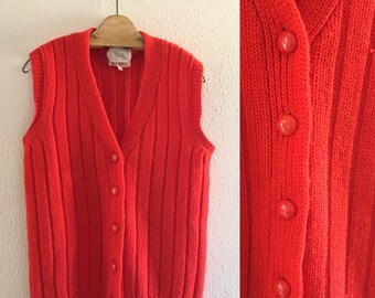 Button up red vest   Etsy