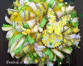 Spring Easter Deco Mesh Wreath - Easter Front Door Wreath - Easter Wreath - Yellow Bunny Wreath - Spring Wreath - Mesh Wreath - Door Wreath