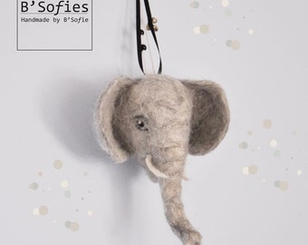 Baby elephant head, needle felt, faux taxidermy, in the special paper gift box