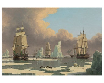 The Northern Whale Fishery, British Oil Painting Print