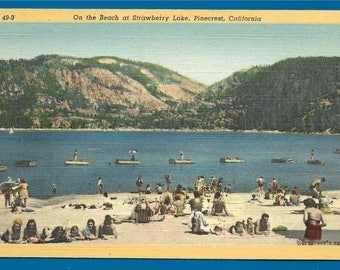 Vintage Linen Postcard - Sunbathing On the Beach at Strawberry Lake  (Pinecrest Lake) in Pinecrest, California  (2520)