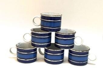 Set of 6 Blue Midwinter Mugs - Stonehenge Blue Moon Coffee Mugs - Staffordshire England