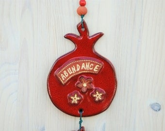 Ornamental Blessing, Red Ceramic Pomegranate, Wall Decor, Ceramic Tile, Wall Hanging
