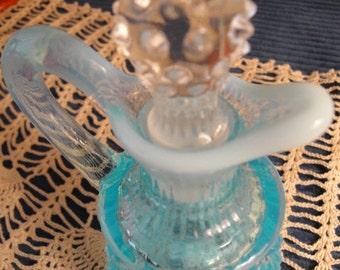 Vintage Fenton Aqua Blue Opalescent Hobnail Cruet With Original Stopper, Vinegar Cruet, Colletable Cruet