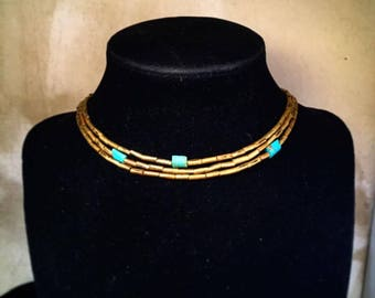Few and Far Between Turquoise and Brass Layered Choker